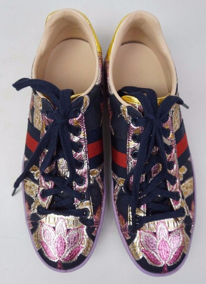 d6fa2631a97 Gucci Purple New Ace Floral Embroidered Leather Low Top Women s Sneakers  Sneakers Size EU 39 (Approx. US 9) Regular (M