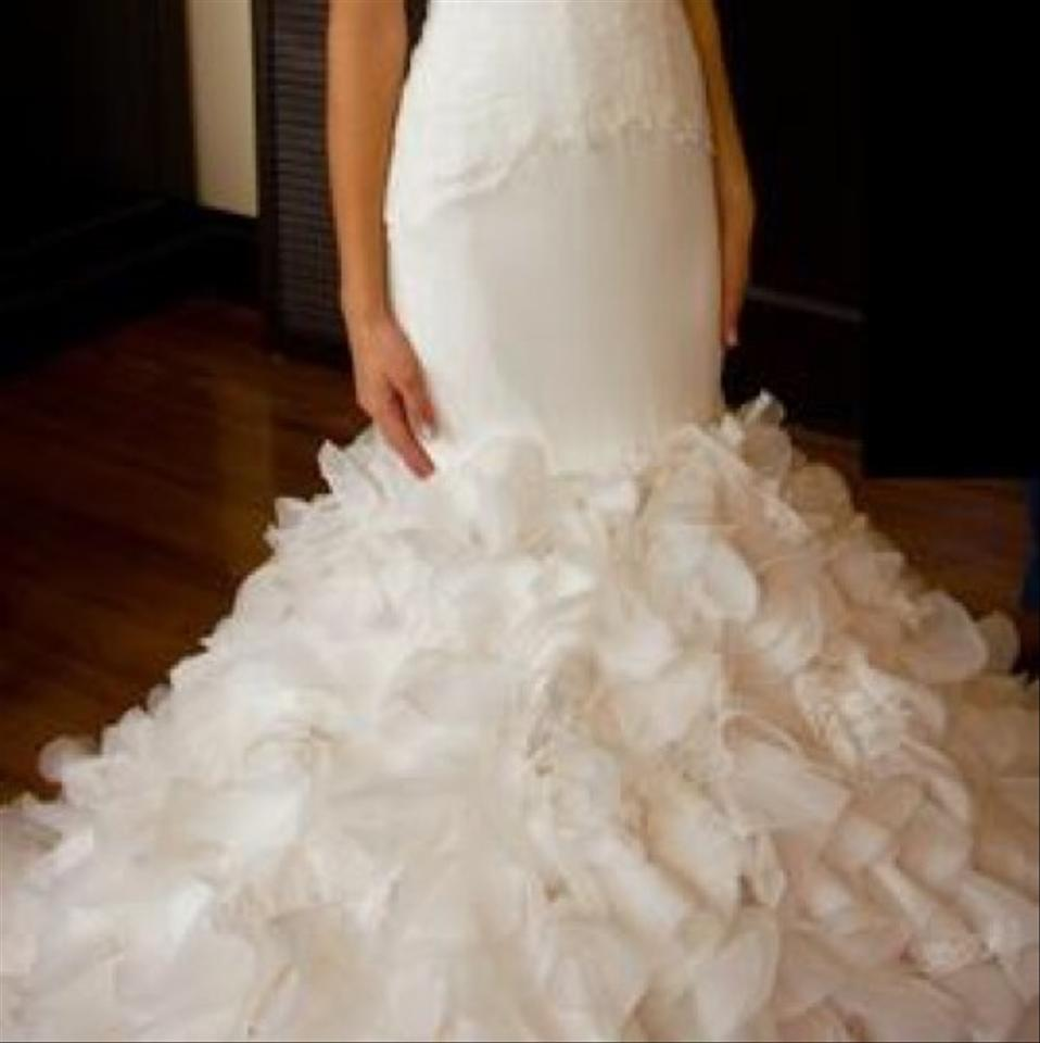 Vera Wang White By Georgette Mermaid Gown. Modern Wedding Dress Size ...