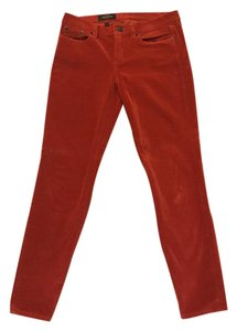 J.Crew Preppy Sold Out Rare Velvet Polka Dot Skinny Pants Red