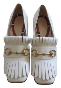 Gucci Loafer Leather Designer Pump White Flats