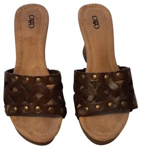 Cato Studded Cut-out Floral Summer Spring Chocolate Brown Wedges