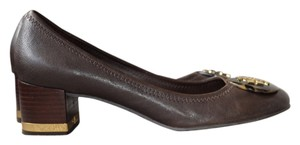 Tory Burch Pump Heel Leather Leather Work Professional Tortoise Shell Short Heel Flat Reva Gold Wood Real Leather Brown Mules