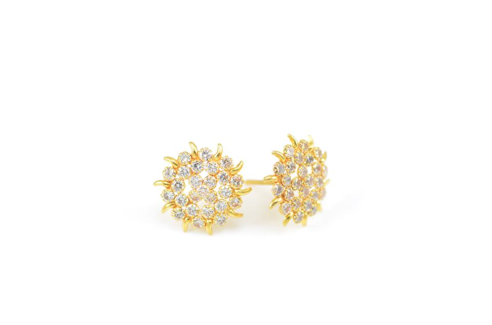 940213a6ec 18k Gold Plated & Cz Stone With Multi-stone Flower Earrings - Tradesy
