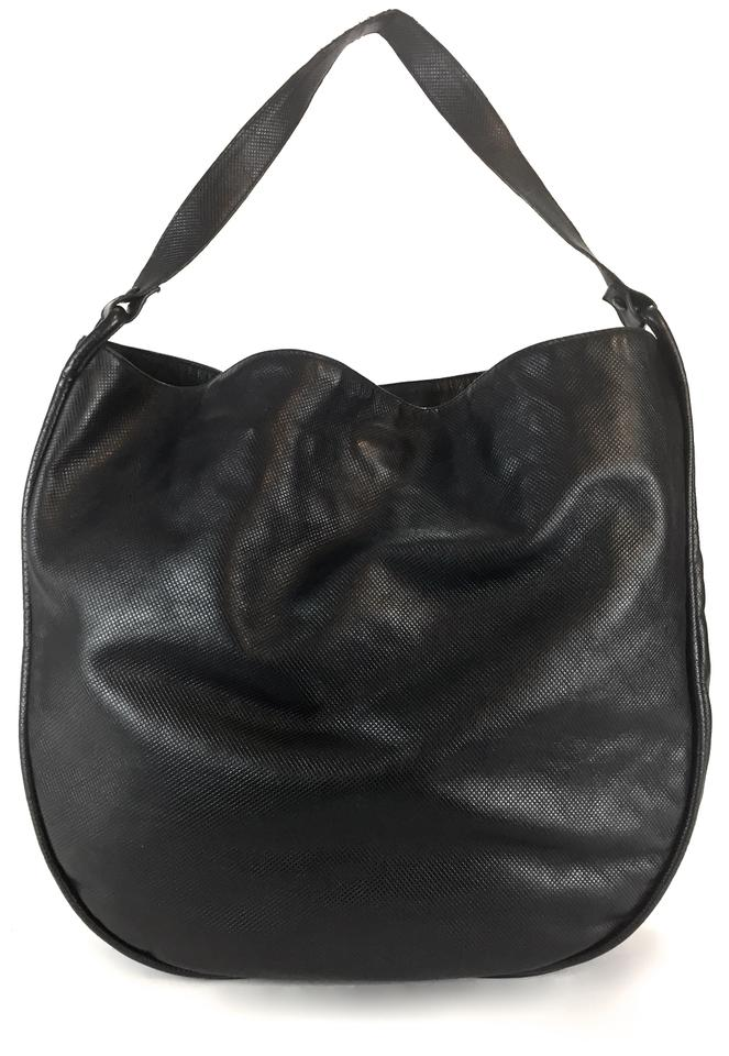 7fd3d67cb3 Bottega Veneta Italy Vintage Square Pattern Single Strap Shoulder Black Leather  Hobo Bag