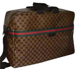 Gucci Monogram Gg Travel Luggage Beige Travel Bag