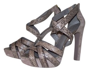 Tory Burch Strappy Sandals- Heels Dress Size 9.5 Snake Skin Dance Travel Tan Light Brown Taupe Platforms