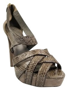 Tory Burch Snake Skin Dance Travel Taupe Sandals