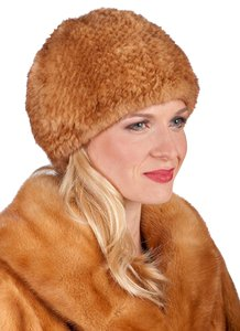 madisonavemall Golden Dyed Mink Knitted Fur Stretch Hat