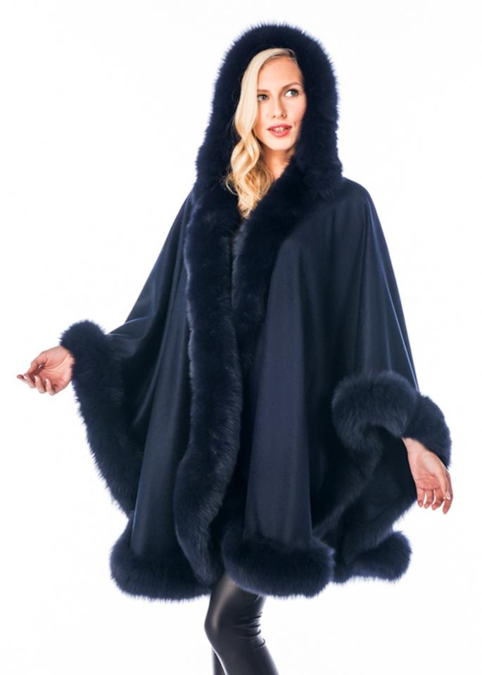 18cb8528f Navy Blue Fox Fur Trim Hooded Cashmere Poncho/Cape Size OS (one size ...