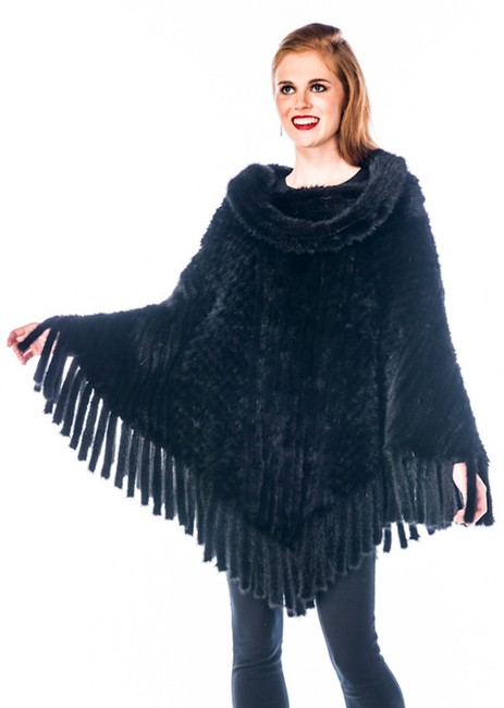 Item - Black Mink - Knitted Mink Roll Collar Poncho/Cape Size OS (one size)