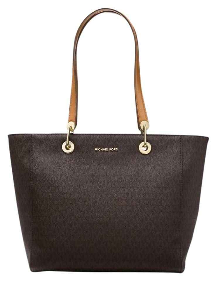 74702d4972b6 Michael Kors Raven Large Logo Brown Leather Tote - Tradesy