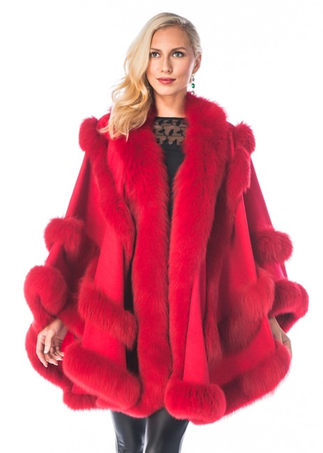 Item - Red Empress Style Fox Fur Trimmed Cashmere Poncho/Cape Size OS (one size)