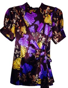 BCBGMAXAZRIA Top Brown, Purple, Gold, Black