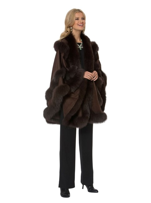 Item - Dark Brown Cashmere - Empress Style Poncho/Cape Size OS (one size)
