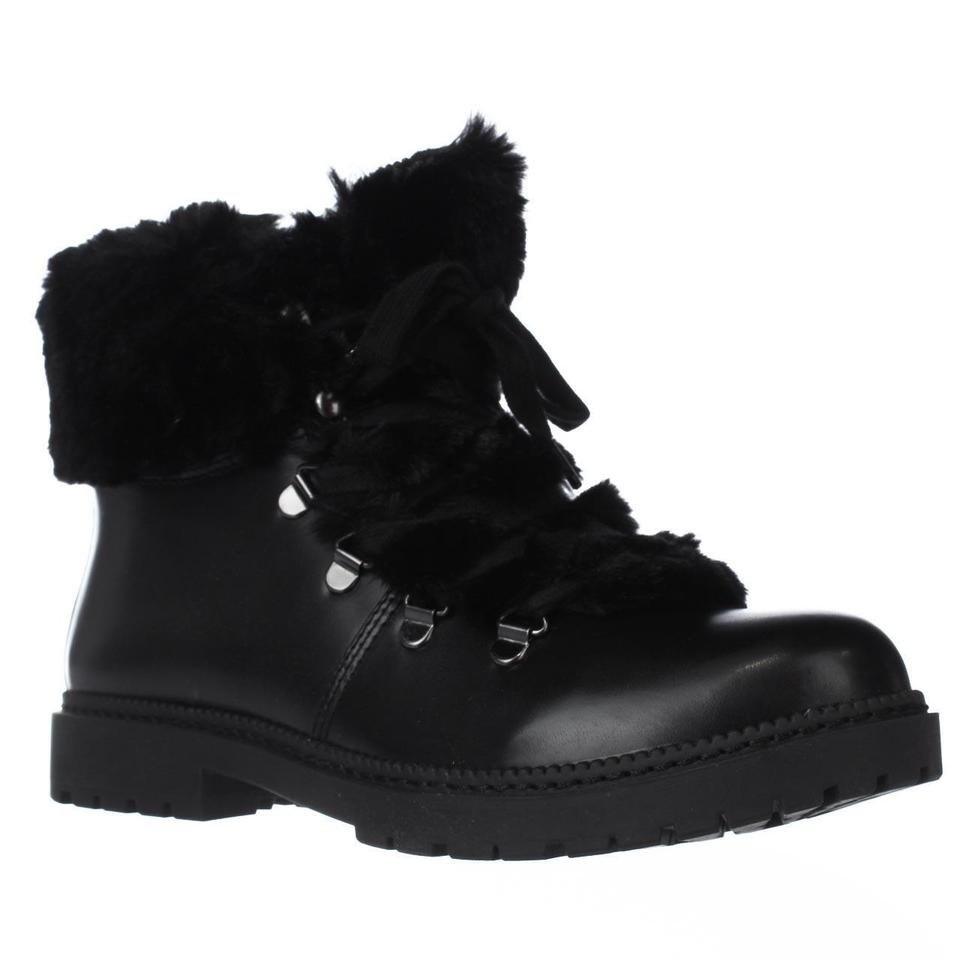 Black Boots/Booties Pamelia Faux Fur Combat Boots/Booties Black 67f4db