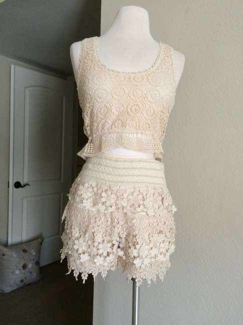 Love Culture Festival Style Ruffled Eyelet Dress Shorts cream