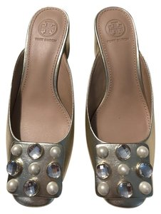 Tory Burch Studded Block Heel Slip On gold Mules