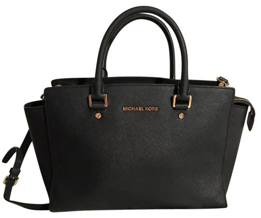 67904816b4d1 123456 Michael Kors Satchel in Black with Gold Hardware .