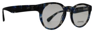 Chanel Square Round Transparent Blue Tweed Rx Eyeglasses 3359 1606
