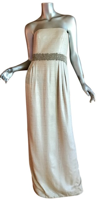 Item - Silver and Cream Threads Long Cocktail Dress Size 6 (S)