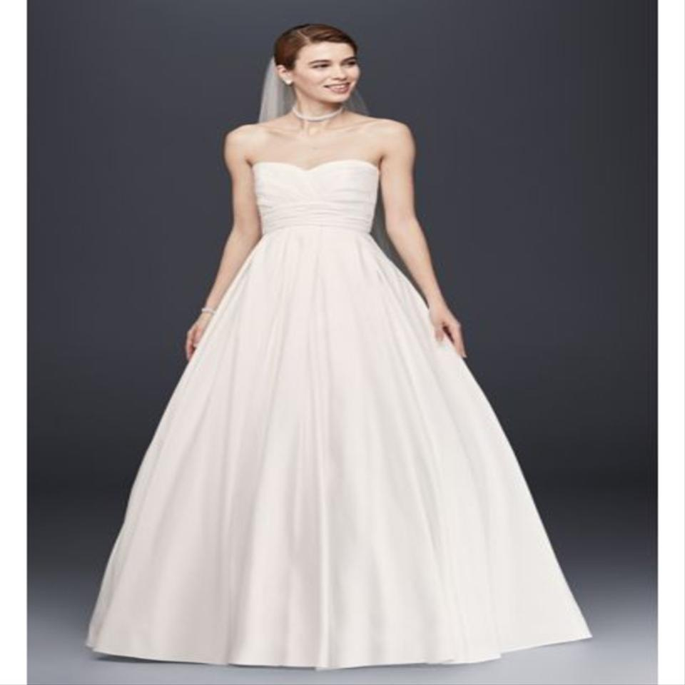 Red And White At David S Bridal Wedding Dress: David's Bridal Soft White Polyester Pleated Strapless