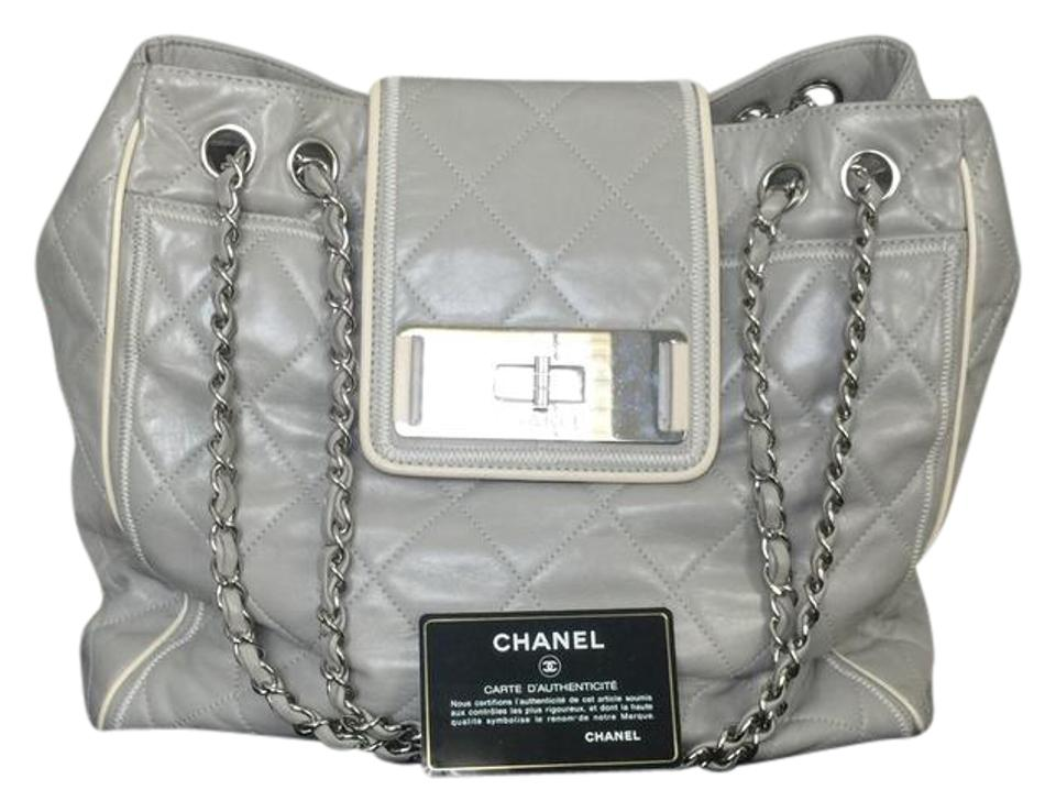 7cc7b4629dea38 Chanel East West Quilted Large Grey Lambskin Leather Tote - Tradesy