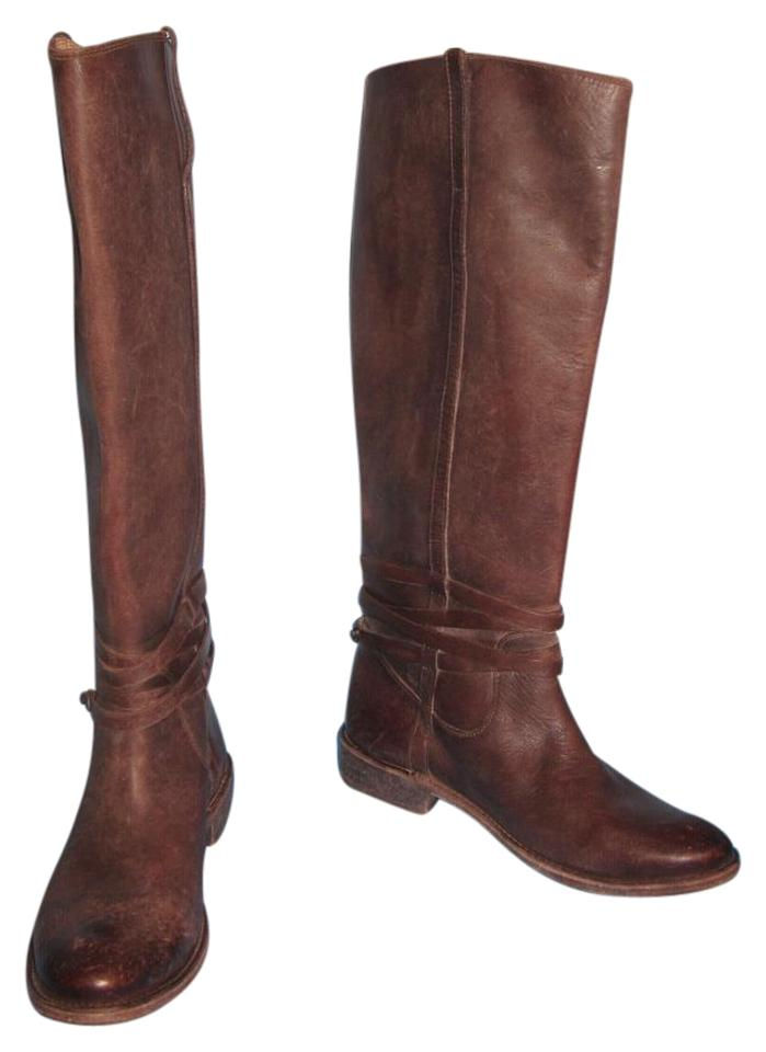 Frye Box Dark Brown New W/O Box Frye Shirley Plate Stone Washed Riding Boots/Booties dca6a1