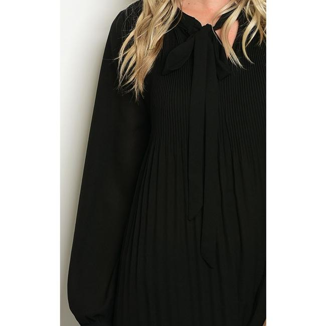 LoveRiche Tie Neck Pleats Top Black Image 3