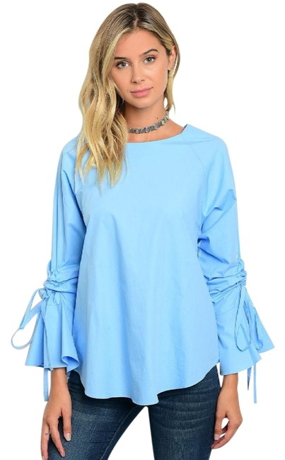 Ina Blue Ruffled Sleeve Cotton New Fall Blouse Size 8 (M) Ina Blue Ruffled Sleeve Cotton New Fall Blouse Size 8 (M) Image 1