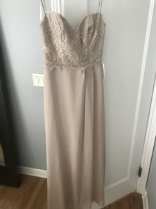 Jim Hjelm Occasions Champagne / Tan Lace 5359 Special Bridesmaid Modern Wedding Dress Size 4 (S)