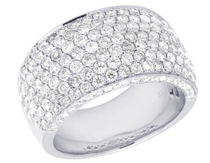 Jewelry Unlimited Men's 14K White Gold Diamond Iced Band Ring 4 CT 13MM