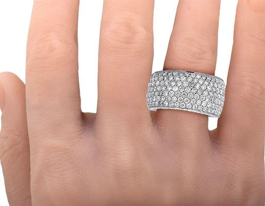 Jewelry Unlimited Men's 14K White Gold Diamond Iced Band Ring 4 CT 13MM Image 3