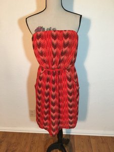 Collective Concepts short dress Red & Black Strapless Elastic Waist Pockets Belted on Tradesy