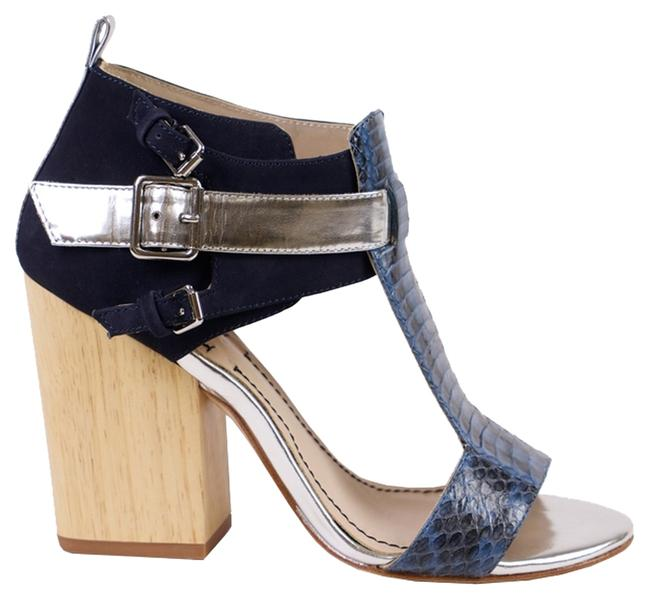 Elizabeth and James Navy/Blue/Silver Colorblock Sandals Size US 6 Regular (M, B) Elizabeth and James Navy/Blue/Silver Colorblock Sandals Size US 6 Regular (M, B) Image 1