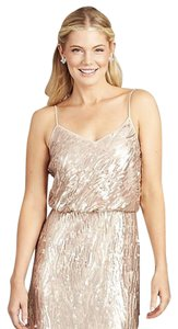 Donna Morgan Rose Quartz Sparkling Sequins and Chiffon Courtney Spaghetti Blouson Formal Bridesmaid/Mob Dress Size 4 (S)