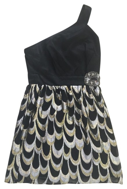 Preload https://img-static.tradesy.com/item/22109712/single-black-with-gold-and-silver-accents-short-cocktail-dress-size-4-s-0-1-650-650.jpg