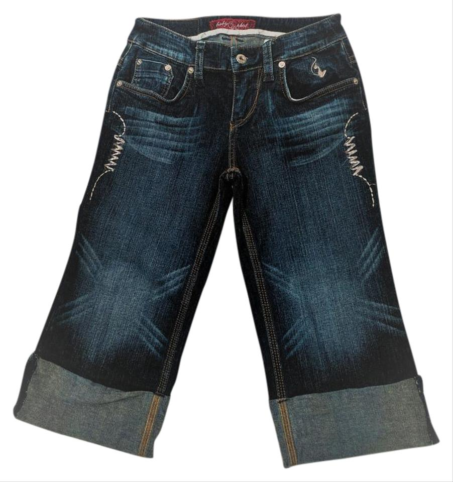 Baby Phat Dark Wash with Silver Embroidered Trim Distressed Cat Logo Slim  Fit Capri/Cropped Jeans Size 27 (4, S)