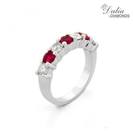 Red Seven Stone 1.24 Ctw Ruby and Set In 14k White Gold Engagement Ring Image 1