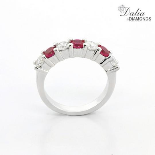 Red Seven Stone 1.24 Ctw Ruby and Set In 14k White Gold Engagement Ring Image 2