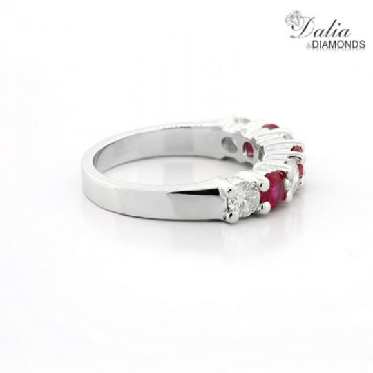 Red Seven Stone 1.24 Ctw Ruby and Set In 14k White Gold Engagement Ring Image 3