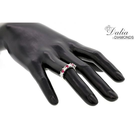 Red Seven Stone 1.24 Ctw Ruby and Set In 14k White Gold Engagement Ring Image 4