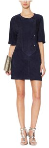 A.L.C. Suede Leather Navy Double Snap Dress