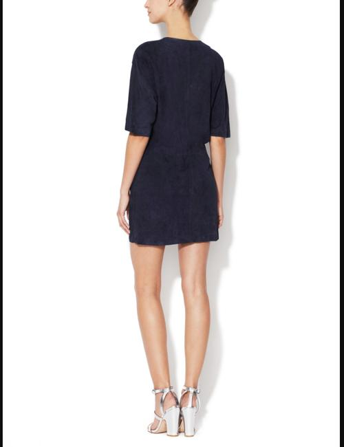 A.L.C. Suede Leather Navy Double Snap Dress Image 1