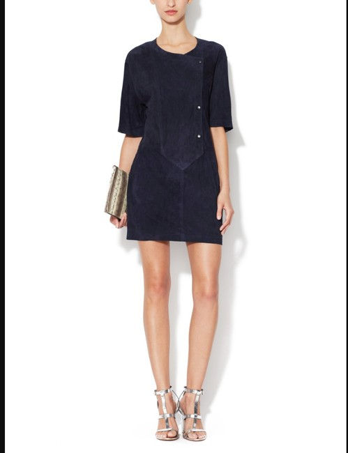 A.L.C. Suede Leather Navy Double Snap Dress Image 2