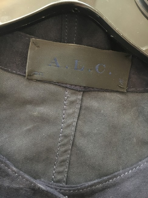 A.L.C. Suede Leather Navy Double Snap Dress Image 4