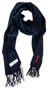 Saint Laurent NEW Yves Saint Laurent Wool Fringe Scarf Embroidered Red Logo Navy
