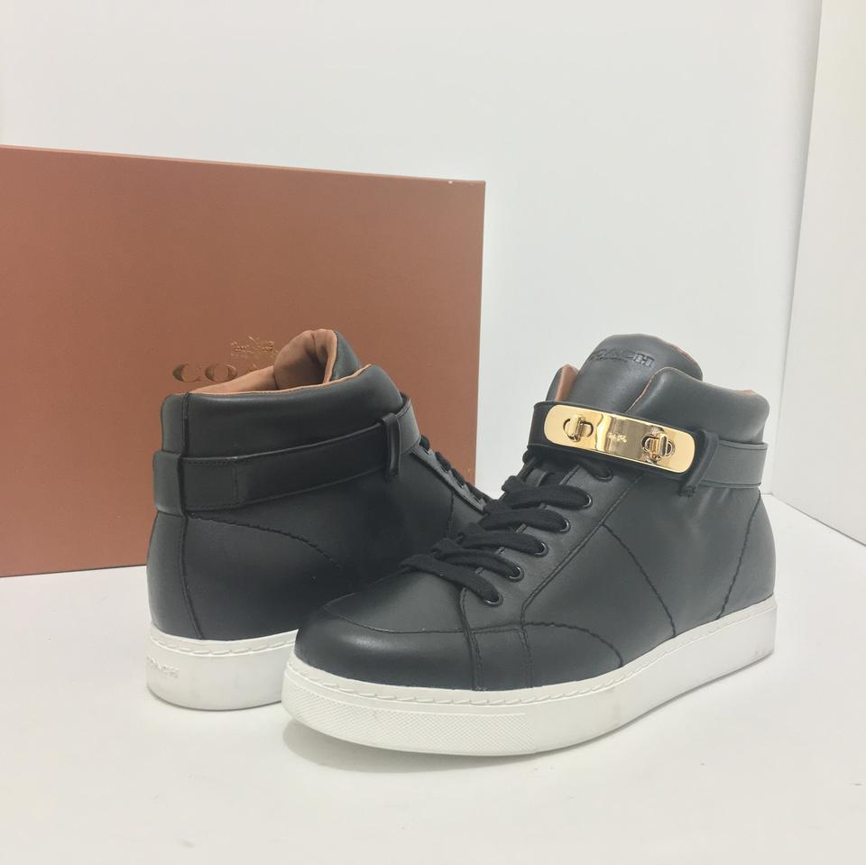 f3952a1fe0a5 Coach Black Leather Swagger Richmond Women s High Top Wedge Sneakers ...