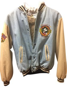Mickey Mouse Disney Hooded Cotton Quilted Fleece Insignias Denim/beige Jacket