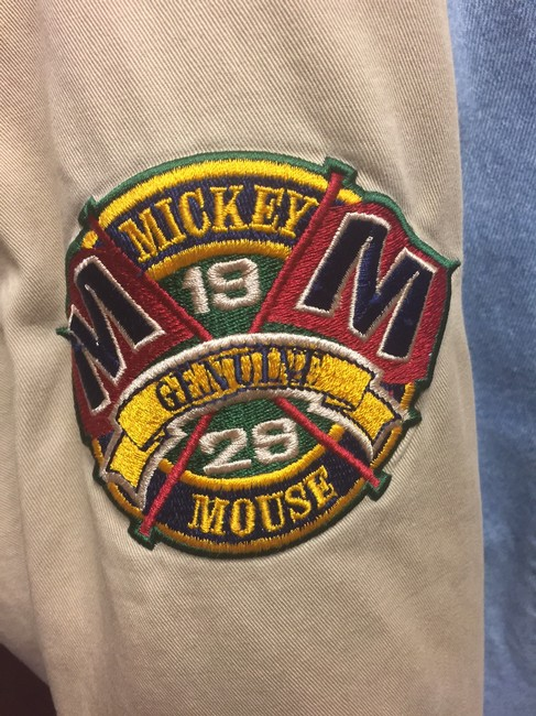 Mickey Mouse Disney Hooded Cotton Quilted Fleece Insignias Denim/beige Jacket Image 2
