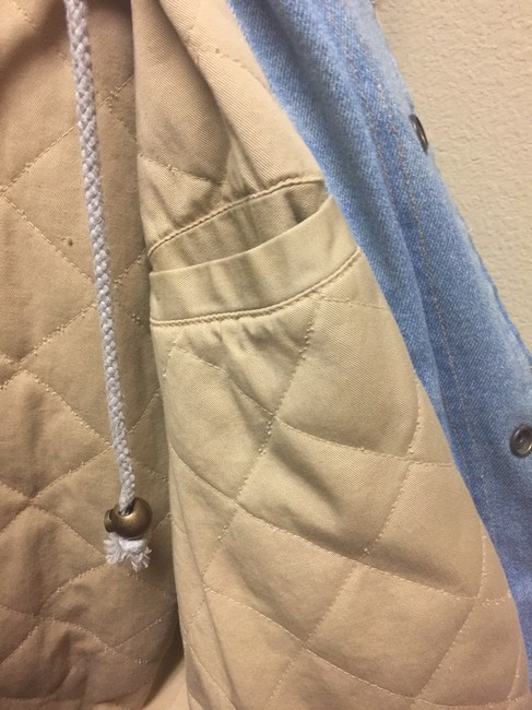 Mickey Mouse Disney Hooded Cotton Quilted Fleece Insignias Denim/beige Jacket Image 3